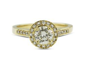 2.16 Carat Ideal Cut Round H-SI1 Diamond 14k Yellow Gold Pave Engagement Ring 4.58gm