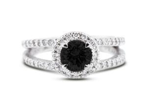 1.49 Carat Ideal Cut Round Black Diamond 14k White Gold Pave Engagement Ring 4.30gm