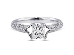 1.58 Carat Excellent Cut Princess F-SI2 Diamond 18k White Gold Micro Pave Engagement Ring 3.22gm