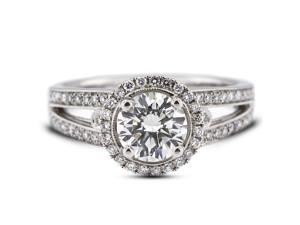 1.61 Carat Excellent Cut Round J-SI1 Diamond 18k White Gold Micro Pave Engagement Ring 5.80gm