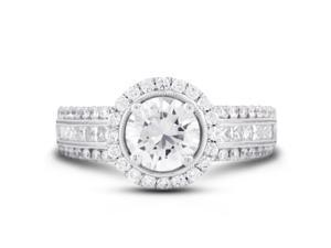 2.23 Carat Excellent Cut Round H-SI1 Diamond 18k White Gold Micro Pave & Channel Engagement Ring 6.50gm