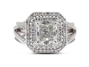 3.16 Carat Ideal Cut Radiant H-SI2 Diamond 18k White Gold Micro Pave Engagement Ring 7.96gm