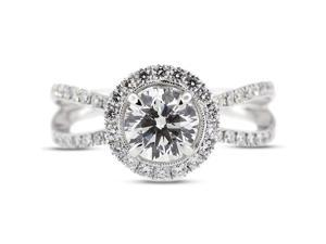 2.73 Carat Excellent Cut Round G-SI2 Diamond 18k White Gold Micro Pave Engagement Ring 4.61gm