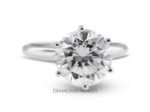 5.31 Carat F-SI2 Excellent Round Natural Diamond Platinum Classic Solitaire Ring
