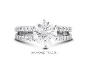 1.18 Carat H-I1 Excellent Round Natural Diamond 14K White Gold Split Shank Engagement Ring