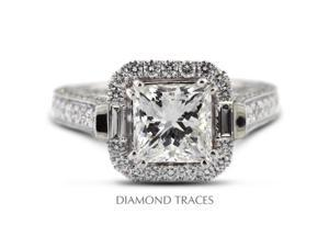 2.65 Carat F-SI1 Very Good Princess Natural Diamond 18K White Gold Halo Engagemnt Ring with Milgrain
