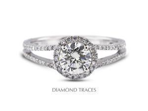 2.07 Carat I-VS2 Excellent Round Natural Diamond 18K White Gold Split Shank Engagement Ring