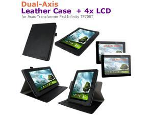 rooCASE Dual-Axis Leather Case + 4x LCD for Asus Transformer Pad Infinity TF700T
