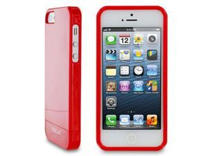 rooCASE Slim Fit 2-Piece Slider Hard Shell Case Cover for Apple iPhone 5S / 5, Gloss Red