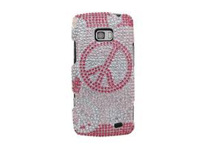 LG Ally VS740 Full Bling Hearts and Peace on White Cover Snap-On Protector Faceplate