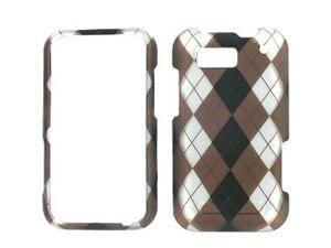 Motorola Defy Rubberized Black, White, & Brown Argyle Snap-On Protector Case Faceplate
