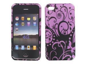 Apple iPhone 4S Purple w/Black Swirls Snap-On Protector Case Faceplate