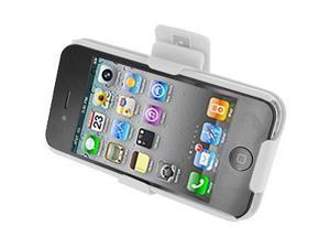 Ribbed White Rubberized Backplate & Holster Combo for Apple iPhone 4 Verizon