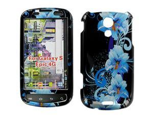 Samsung Epic 4G Black w/Blue Flowers Snap-On Protector Case Faceplate