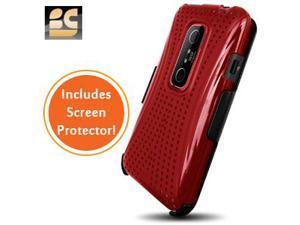 Xmatrix Hard Shield Case & Heavy-Duty Holster Combo w/Screen Protector for HTC EVO V 4G (Virgin) / EVO 3D (Sprint) (Red)