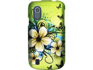 ZTE Concord (T-Mobile) Flora with Butterflies on Lime Green Protector Faceplate