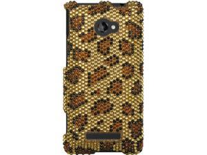 HTC Windows Phone 8X Full Bling Leopard Snap-On Protector Faceplate