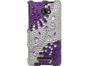 HTC Windows Phone 8X Full Bling Purple Heart Medley Snap-On Protector Faceplate