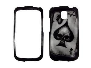 LG Optimus T Rubberized Skull Spade Snap-On Protector Case Faceplate
