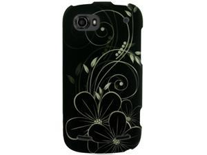 ZTE Warp Sequent (Boost Mobile) White Hawaiian Flowers w/ Swirls on Black Protector Faceplate