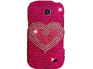 Samsung Galaxy Proclaim / Samsung Illusion SCH-I110 Full Bling White Heart on Hot Pink Snap-On Protector Faceplate