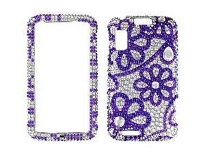 Motorola ATRIX 4G Full Bling Purple Lace Flowers Snap-On Protector Case