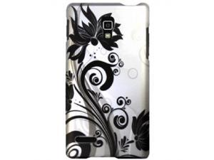 LG Optimus L9 P769 (T-Mobile) Black Swirly Flowers on Silver Protector Faceplate