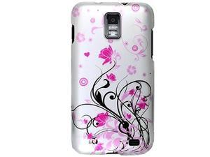 Samsung Galaxy S II Skyrocket SGH-i727 (ATT) Hot Pink Flowers and Black Vines on Silver Protector Faceplate