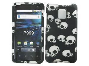 LG T-Mobile G2x Rubberized Black w/White Skulls Snap-On Protector Case Faceplate