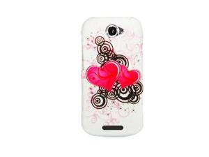 HTC One S (T-Mobile) Dual Hot Pink Hearts Protector Faceplate