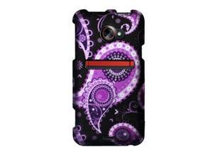 HTC EVO 4G LTE (Sprint) Purple Paisley on Black Protector Faceplate
