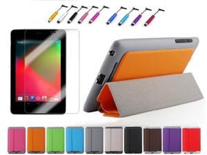 For Google Nexus 7 1st Generation Slim Magnetic PU Leather Case Smart Cover + Film + Stylus Black