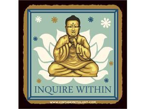 Inquire Within Buddha Mini Vintage Tin Sign