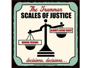 Grammar Scales of Justice Mini Vintage Retro Tin Sign