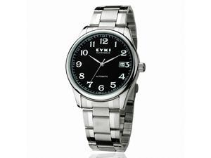 EYKI Men's Stainless Steel Automatic Mechanical Wrist Watch EFL8500AG Silver Band Black Face