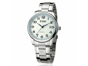 EYKI Men's Stainless Steel Automatic Mechanical Wrist Watch EFL8500AG Silver Band White Face