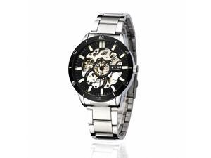 EYKI Men's Stainless Steel Skeleton Automatic Mechanical Wrist Watch EFL8495AG Silver Band Black Face