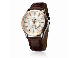 EYKI Men's Leather Calendar Automatic Mechanical Wrist Watch EFL8532G Brown Band White Face