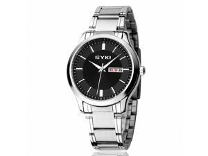 EYKI Men's Calendar Stainless Steel Quartz Analog Wrist Watch EET8598AGL Black Face