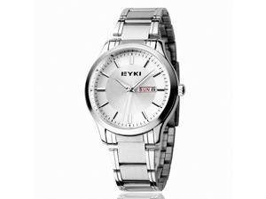 EYKI Men's Calendar Stainless Steel Quartz Analog Wrist Watch EET8598AGL White Face