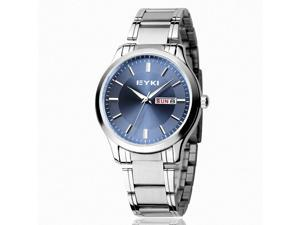 EYKI Men's Calendar Stainless Steel Quartz Analog Wrist Watch EET8598AGL Blue Face