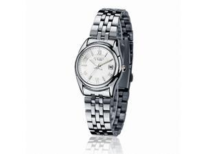 EYKI Women's Calendar Stainless Steel Quartz Analog Wrist Watch EET8470AGL White Face