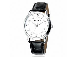 EYKI Men's Leather Quartz Analog Wrist Watch EET8599GL Black Band White Face