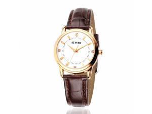 EYKI Women's Leather Quartz Analog Wrist Watch EET8599GL-RG Brown Band White Face