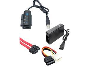 USB 2.0 to 2.5/3.5 IDE SATA HDD drive adapter cable converter with power cord