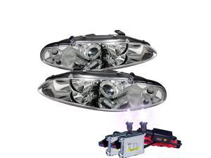 HID Xenon 12000K + 95-96 Mitsubishi Eclipse Angel Eye Halo Projector Headlights - Chrome