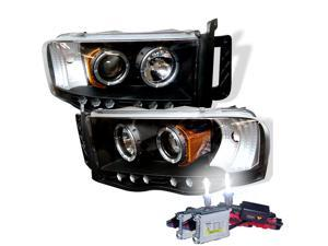 HID Xenon 6000K + 02-05 Dodge RAM Angel Eye Halo & LED Projector Headlights - Black