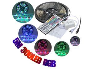 Waterproof 5M RGB 3528 SMD 300 LED Strip Flexible Light Lamp  + 44 key Remote Control