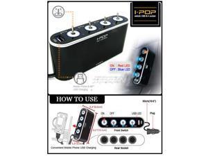 12V/24V 4 Way Car Cigarette Lighter Socket Splitter Charger  USB LED Light Switch Cellphone GPS iPod iPhone 4S 5 5C 5S SUMSUNG ...