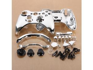 Crystal  Replacement Full Shell Case Cover Kit + Buttons Parts for XBOX 360 Wireless Controller Silver